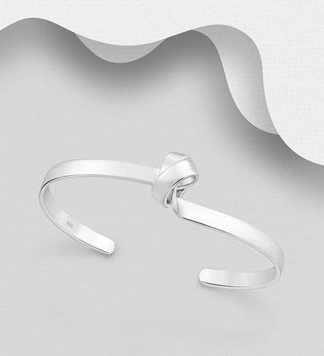 925 Sterling Silver Hand Crafted Solid Twisted Raised Knot Cuff Bangle